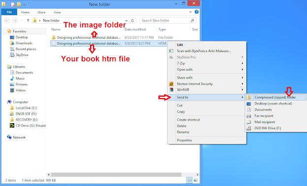 screenshot of how to zip files