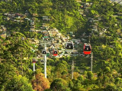 Медельин, Колумбия. Medellin, Colombia, горы, канатная дорога, город