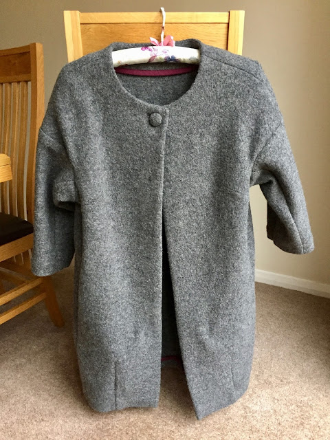 Diary of a Chain Stitcher: Little Woollie Cocoon Coat in Charcoal Boiled Wool from Dragonfly Fabrics
