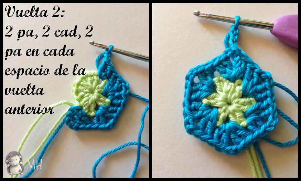 Vuelta 2 hexágono flor africana a crochet