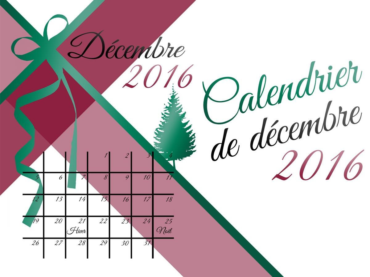 Calendrier imprimable décembre 2016