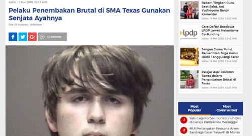 PELAKU : Inilah wajah pelaku penembakan brutal di SMA Santa Fe Texas yang berhasil di identifikasi oleh polisi.  Gambar dari DETTIK COM