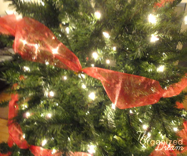 Decorate Christmas Tree With Wide Mesh Ribbon
