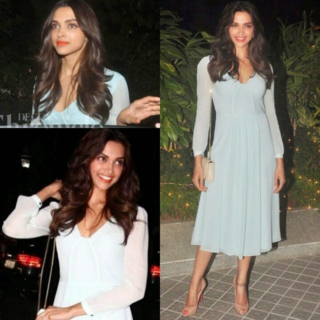there is an endless happiness we all get from watching her. angelic beauty😍😍 deepika padukone , queen of bollywood , bollywood ,, Deepika Padukone Hot Pics In Blue Dress At Farah Khan Bday Party