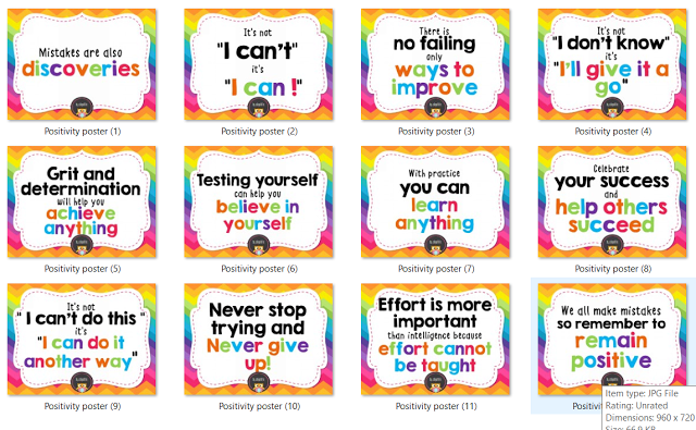 Deped Standard Classroom Design ~ Colorful positivity posters