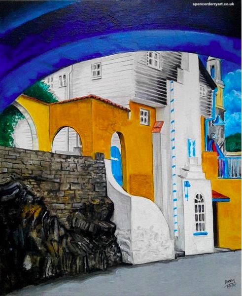 Original hand painted acrylic painting of a Portmeirion House, a coastal resort in North Wales, UK. Artwork Created by Spencer J. Derry in 2018. Media : Acrylic (Varnished). Pure Cotton Stretched Canvas on Board.