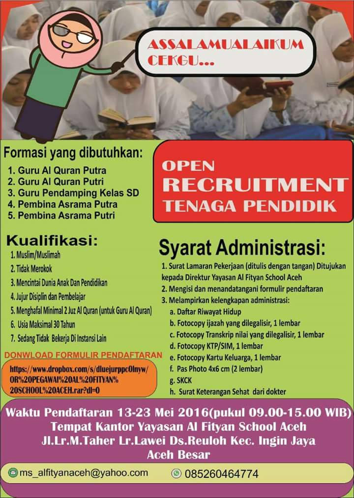 Al Fityan School Aceh - Rekrutmen Mei 2016