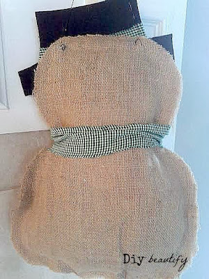 Burlap snowman door hanging | DIY beautify