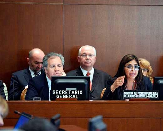 """Delcy pide a OEA suspender sesión sobre Venezuela por no tener """"consentimiento"""" de Maduro"""