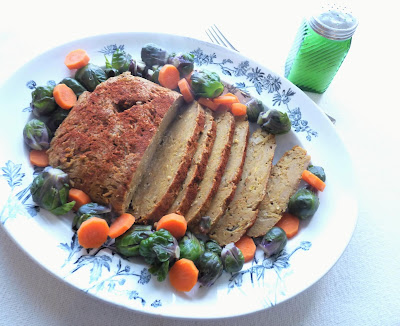 Vegan Turkey Roast with Brussels Sprouts and Carrots