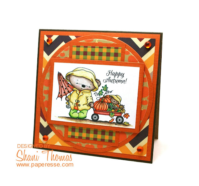 Happy Autumn card featuring Autumn Stroll from Di's Digistamps, by Paperesse.
