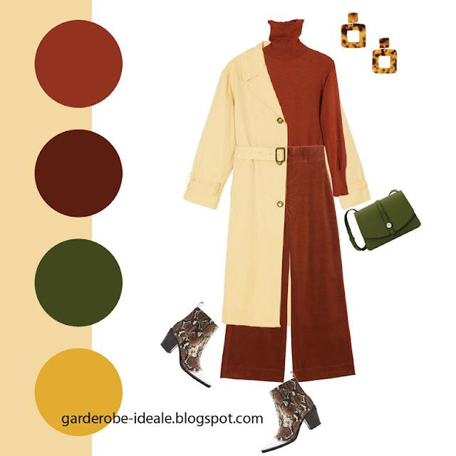 Кремовый тренч оверсайз с водолазкой и брюками коричневого цвета