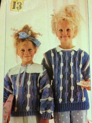 Vintage 80s Knitting Pattern for Girls Bobble Jumpers