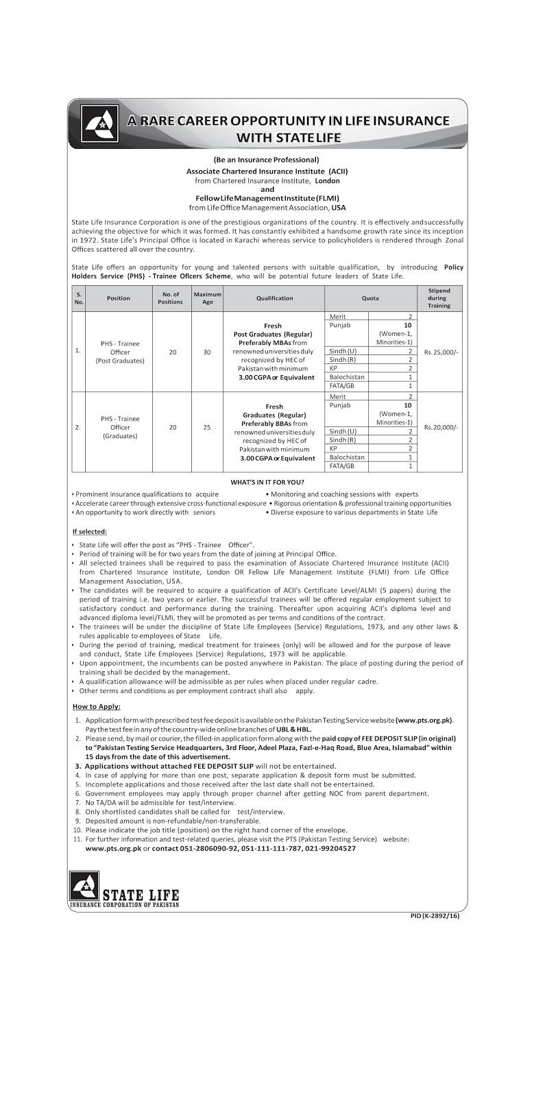 State Life Insurance Company (SLIC) - PHS Trainee Jobs Before 20 February 2017