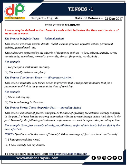 DP | Tenses -1 For IBPS Clerk Mains | 21-12-2017