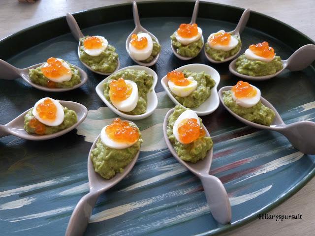 Bouchées oeuf de cailles mollet au guacamole