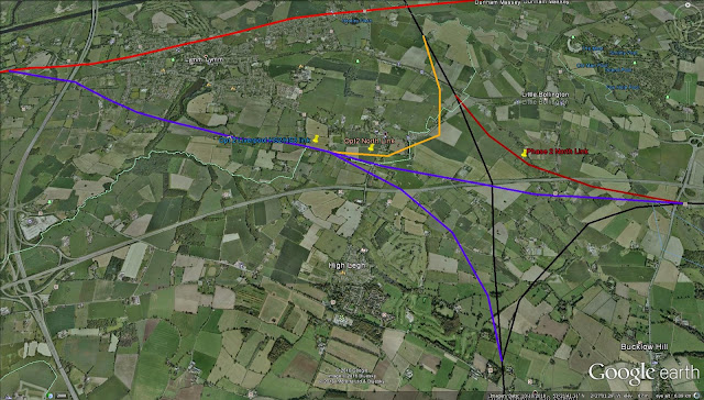 A straight line departs from the Alricham line and heased south east crossing the route of HS2 and joing the manchester spur, a chord leaves half way along its lnegth and curves south joing the HS2 trunk heading south.