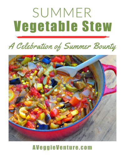 Summer Vegetable Stew ♥ AVeggieVenture.com, a soupy stew made with fresh vegetables, a great master recipe and a rainbow of summer vegetables, full of different flavors and colors and textures. Weight Watchers Friendly. Vegan. Gluten Free. Paleo.