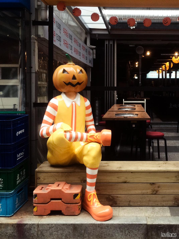 Seoul, Korea - Summer Study Abroad 2014 - Gangnam KBBQ pumpkin mascot