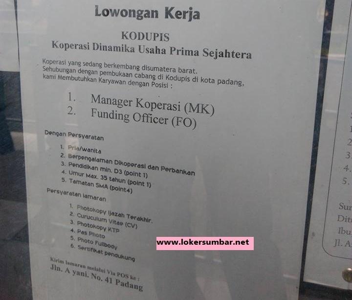 Lowongan Kerja di Padang – KODUPIS – 2 Posisi (September 2016)