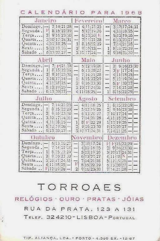 Calendario 1968.Estacao Cronografica Memorabilia Relojoaria Torroaes