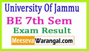 University Of Jammu BE 7th Sem 2016 Exam Results