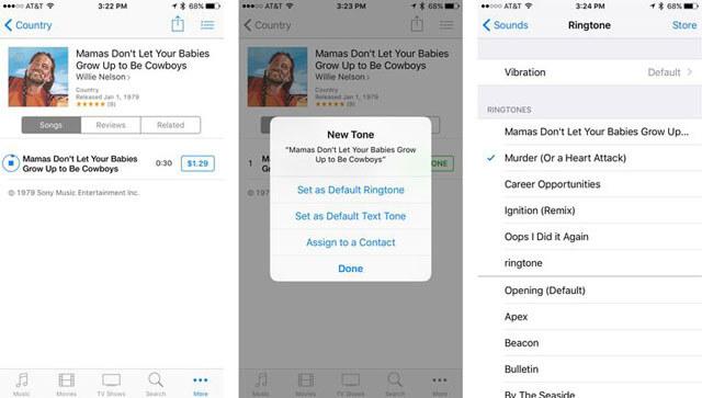Membeli nada dering pada iPhone, langkah 3