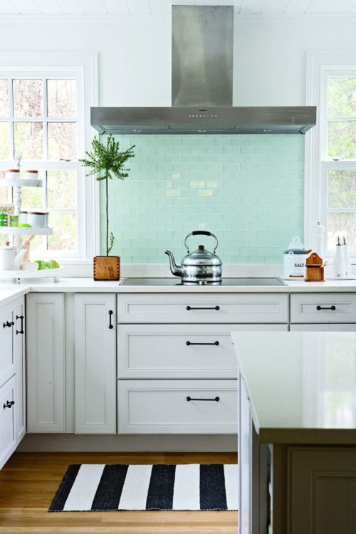 kitchen makeover contest outdoor oven shorely chic: blue glass subway tile
