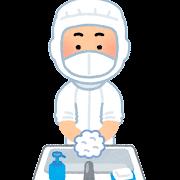 白衣を着て手を洗う人のイラスト