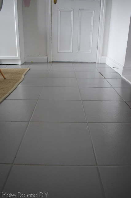 painted tile floor-six months later ~ Make Do and DIY