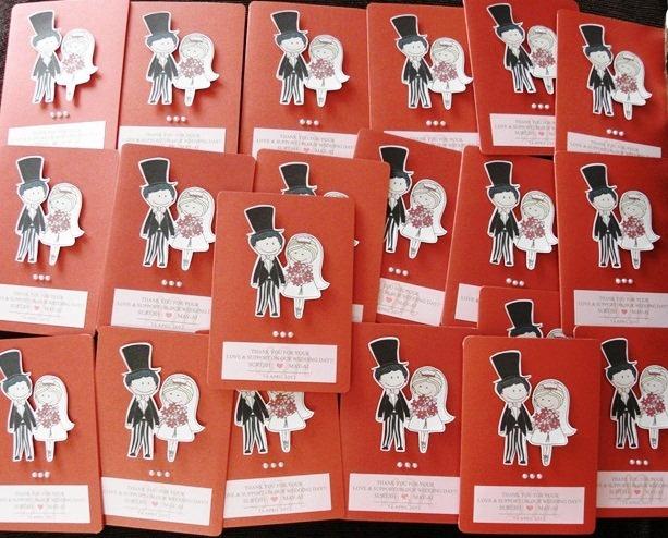 Wedding Thank You Cards, Wedding, Thank you, Cards, Metallic Red Card Stock 210gsm, Classic Single Fold