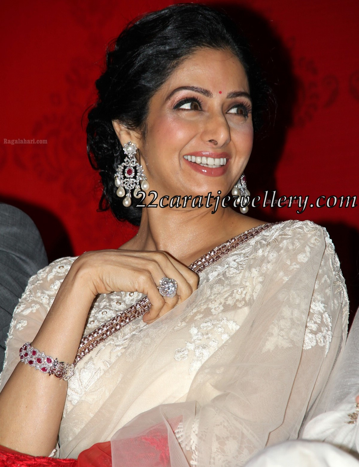 Sridevi In Diamond Heavy Earrings With South Pearls