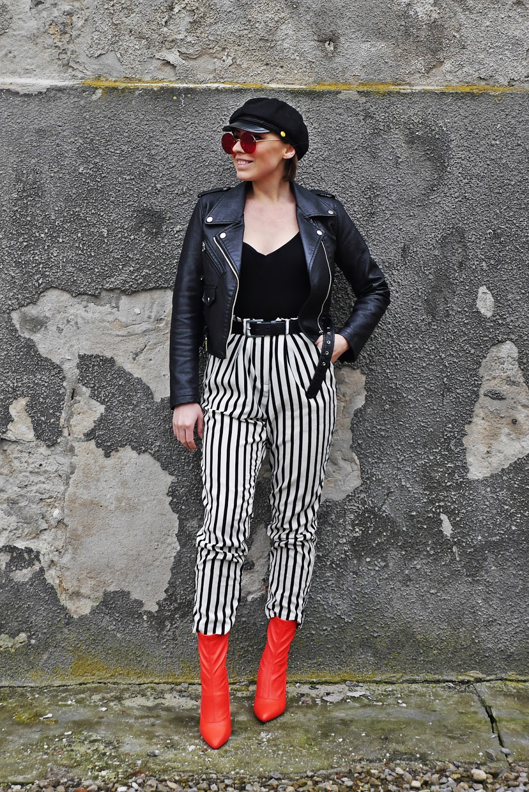 leather biker jacket stripes pants karyn blog modowy