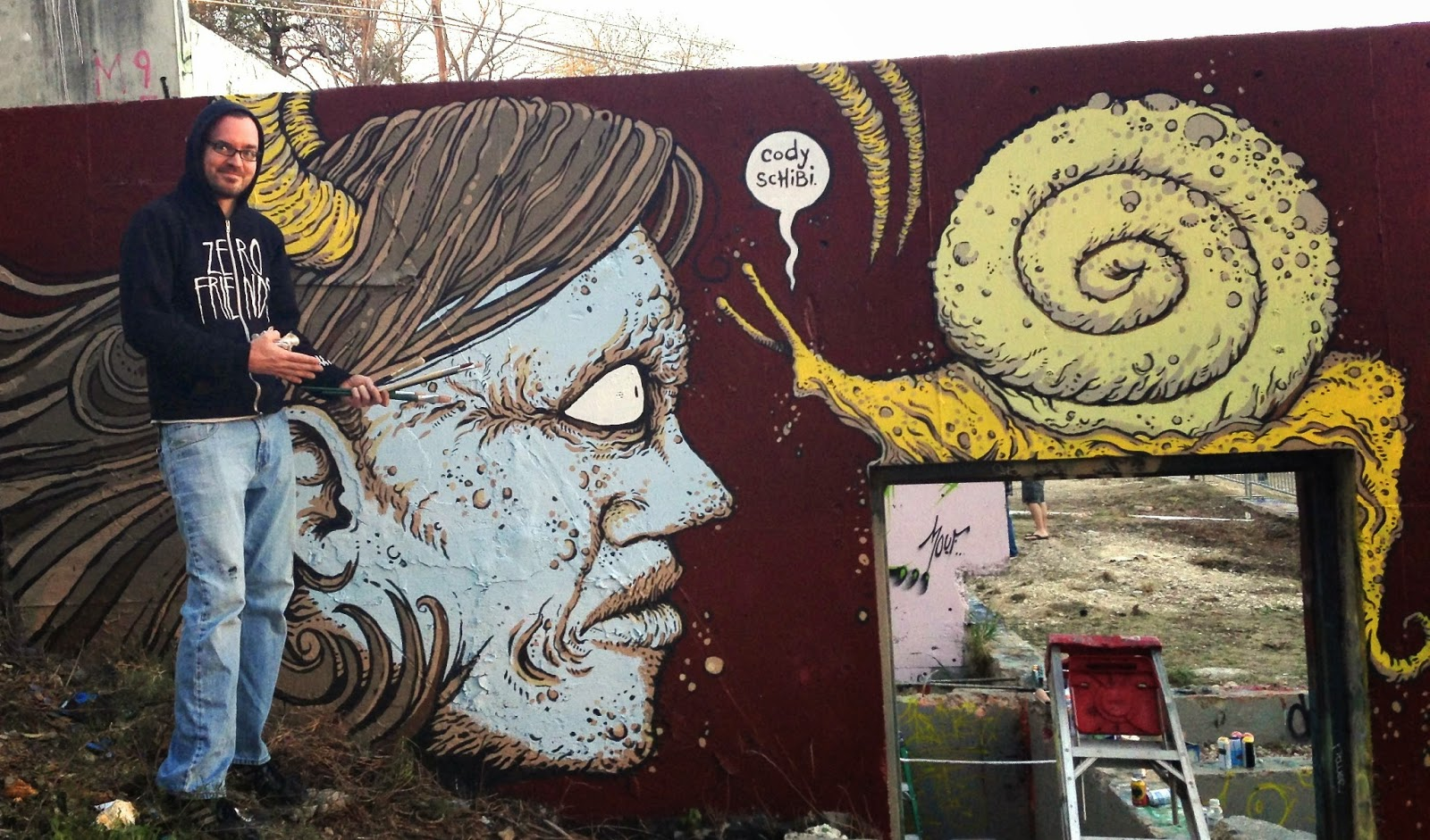 ... artists together for a full day of painting the giant concrete walls over at the HOPE Outdoor Gallery aka Castle Hill near downtown Austin. & Drawing A Blank: The Art of Cody Schibi: Art Happy Hour @ Hotel San ...