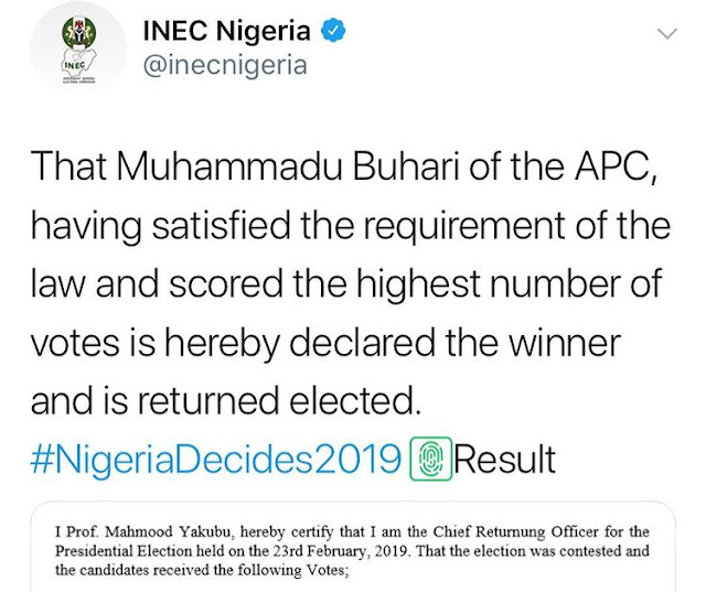 Nigeria presidential election final results