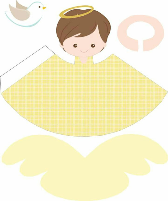 Free Printable 3D Brunette Angel in Yellow.
