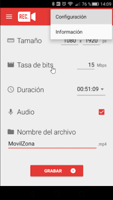 Cómo configurar Rec (Screen Recorder)