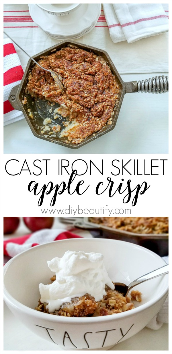 cast iron skillet apple crisp recipe  |  diybeautify.com