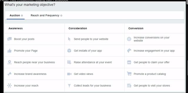 Lựa Chọn Mục Tiêu Quảng Cáo Facebook (Objective) 1