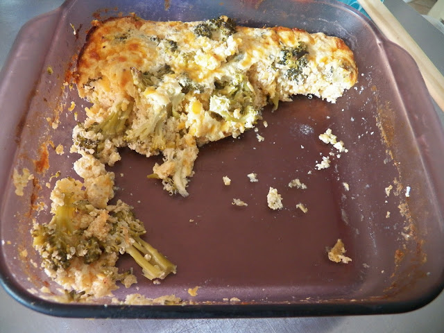 What's left of Broccoli Cheddar Quinoa Casserole