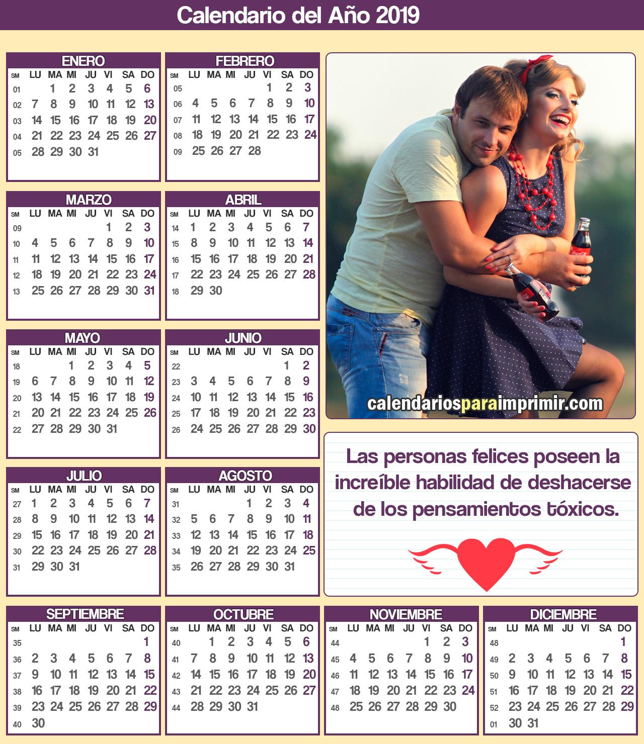 calendarios para imprimir con frases de felicidad