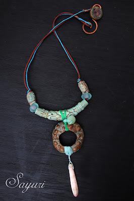 Ceramic and metal necklace by Sayuri