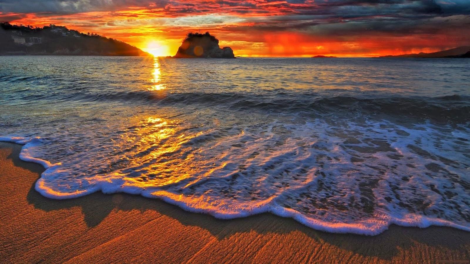 معارض أجمل الخلفيات بالعالم Hd Wallpapers خلفية سطح المكتب عالية الدقة على شاطئ البحر وغروب الشمس طبيعية
