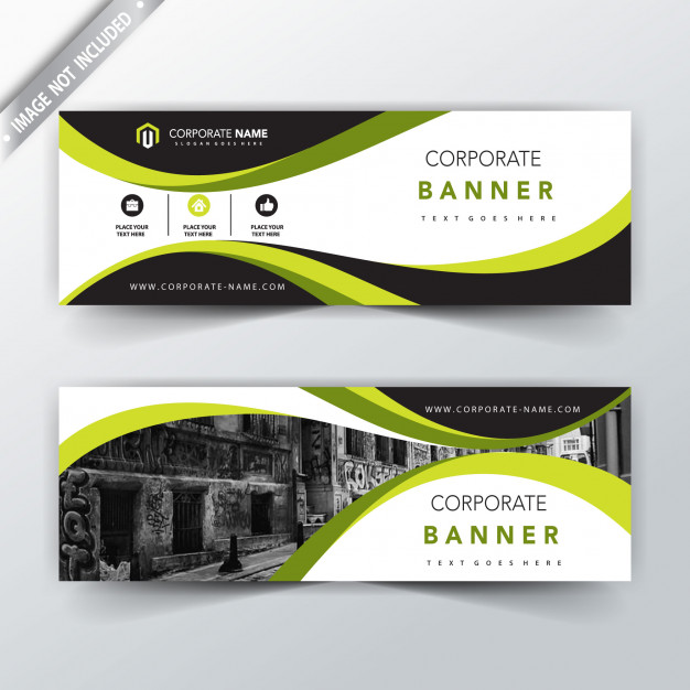 Green corporate horizontal banner design Free Vector