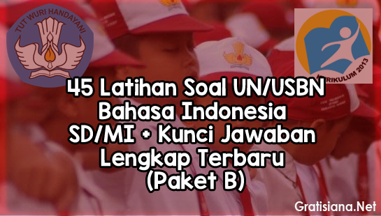 45 Latihan Soal UN/USBN Bahasa Indonesia SD/MI + Kunci Jawaban Lengkap Terbaru (Paket B)