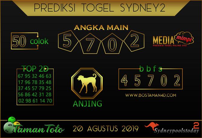Prediksi Togel SYDNEY 2 TAMAN TOTO 20 AGUSTUS 2019
