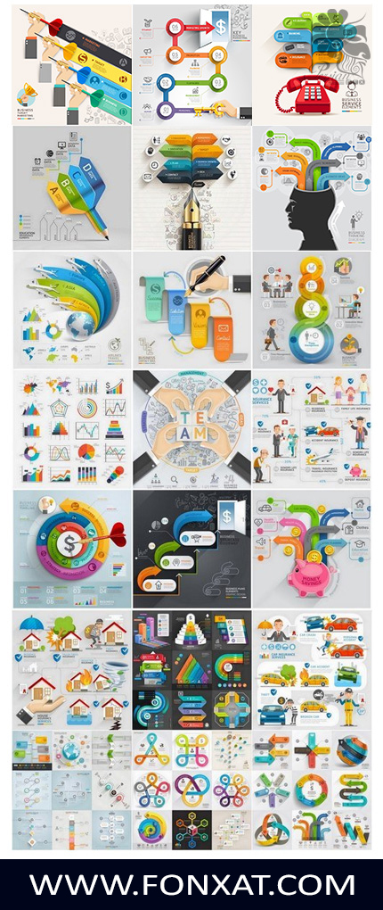 Download vector illustrations business infographic charts
