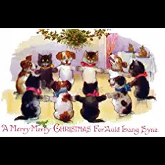Puppy Dogs & Kitty Cats Holding Hands Sing Auld Lang Syne Vintage Art #auldlangsyne #christmasmusic #learnyourchristmascarols #christmascollectible available on Amazon