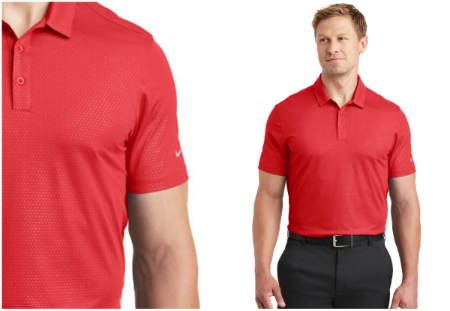 277ebb59e8c0 Add a little texture to your wardobe with our Nike Golf Dri-FIT Embossed Tri -Blade Polo! An all-over embossed tonal tri-blade pattern gives this ...