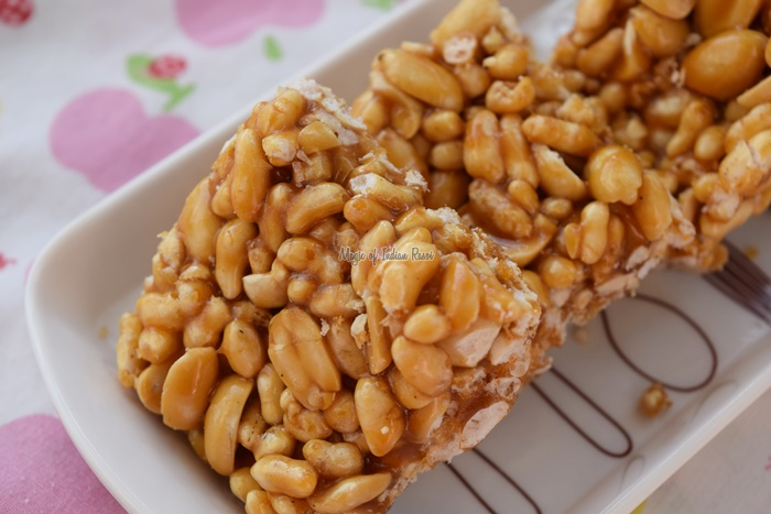 Mamra Sing Chikki - Peanuts & Puffed Rice Chikki - Magic of Indian Rasoi - Priya R